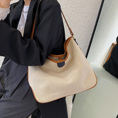 simple large capacity contrast color canvas bucket bag wholesale Nihaojewelry  NHLH417613's discount tags