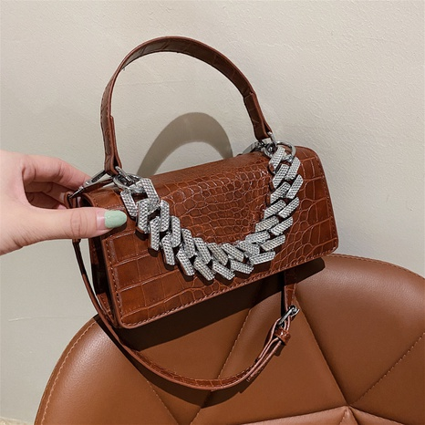 Stone grain geometric metal handle armpit small square bag wholesale Nihaojewelry  NHLH417653's discount tags