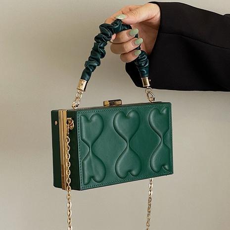 Nuevo bolso retro de caja de hombro de color sólido con cadena de pliegue salvaje al por mayor nihaojewelry NHLH417712's discount tags