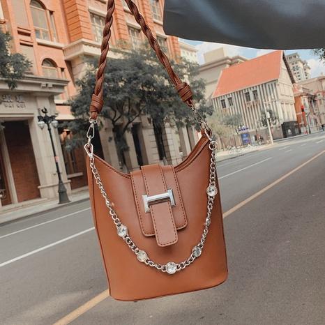 bolso de hombro de cadena de diamantes de imitación con incrustaciones de cuero suave casual simple al por mayor nihaojewelry NHLH417723's discount tags