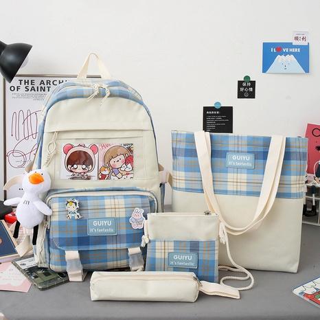 koreanischer Stil karierter Canvas Rucksack mit großer Kapazität Großhandel Nihaojewelry NHTG417879's discount tags