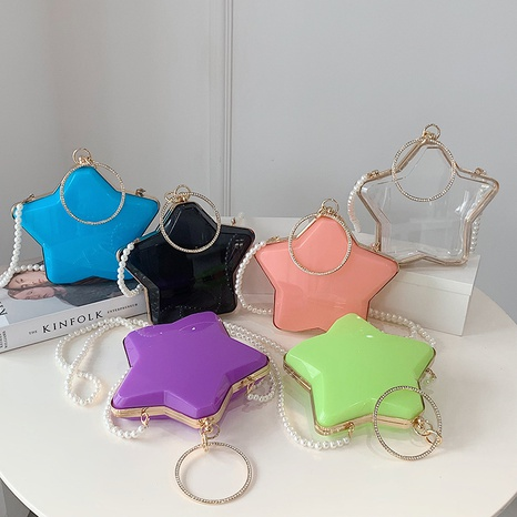 Moda estrella de cinco puntas acrílico transparente cadena de perlas bolsa de gelatina al por mayor nihaojewelry NHAV418030's discount tags