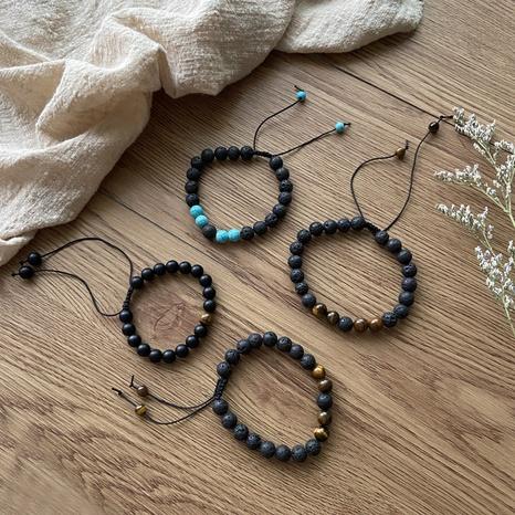 pulsera de cuentas de piedra volcánica negra al por mayor nihaojewelry NHPF418129's discount tags