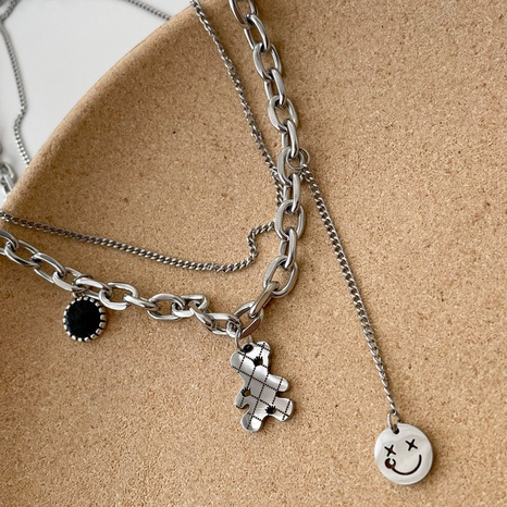 double-layer bear smiley face hip-hop style necklace wholesale jewelry Nihaojewelry NHPF418135's discount tags