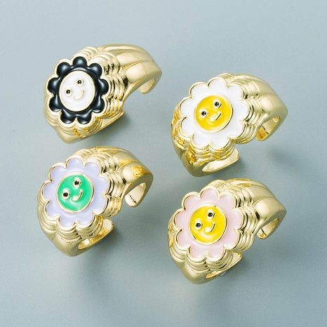 fashion copper color oil drip sun flower smiley face open ring wholesale nihaojewelry NHYIS418173's discount tags