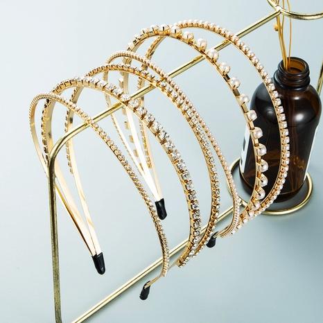 Mode-Legierung Diamant eingelegte Perle dreischichtiges dünnes Stirnband Großhandel Nihaojewelry NHLN418181's discount tags