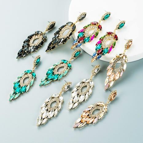 Mode mehrschichtige Legierung eingelegte Farbe Strass lange Ohrringe Großhandel Nihaojewelry NHLN418182's discount tags