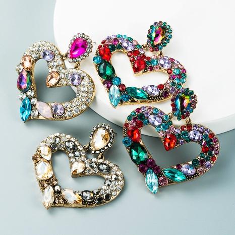 Modelegierung diamantbesetzte Farbe Strass herzförmige Ohrringe Großhandel Nihaojewelry NHLN418183's discount tags