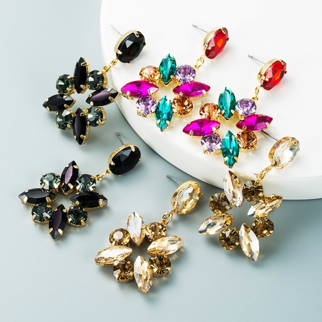 Modelegierung diamantfarbener Strass voller Diamantohrringe Großhandel Nihaojewelry NHLN418184's discount tags