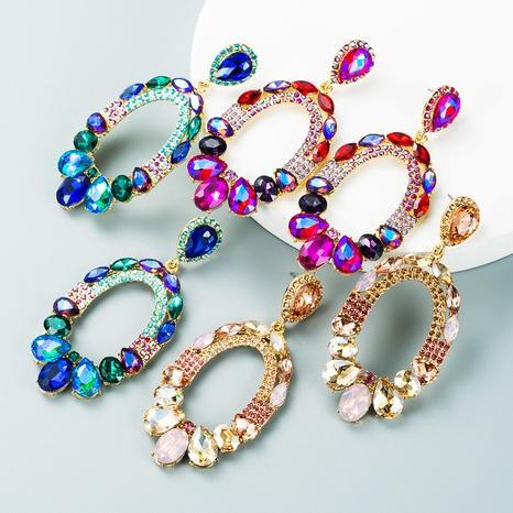 Koreanische Legierung eingelegte Strassfarbe Wassertropfen Ohrringe Großhandel Nihaojewelry NHLN418185's discount tags