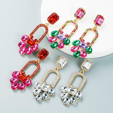 Modefarbe Diamant-Serie geometrische lange Blumenohrringe Großhandel Nihaojewelry NHLN418188's discount tags