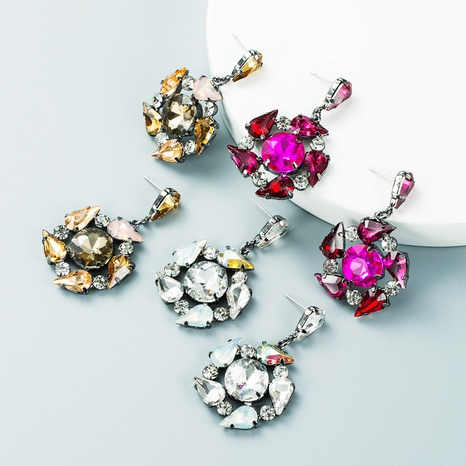 Retro-Mehrschichtlegierungsblume voller Diamantohrringe Großhandel Nihaojewelry NHLN418190's discount tags