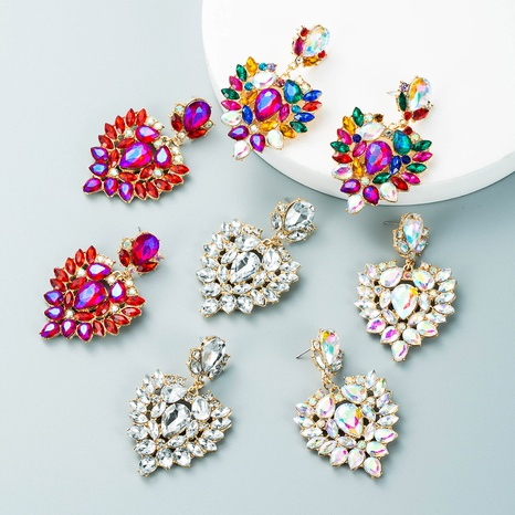 Mode Legierung Farbe Strass Wassertropfen geformte Ohrringe Großhandel Nihaojewelry NHLN418193's discount tags