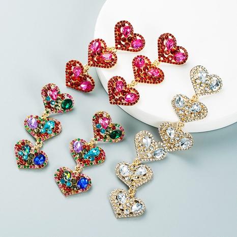 Modetrendfarbe Diamant mehrschichtige herzförmige Legierungsohrringe Großhandel Nihaojewelry NHLN418194's discount tags