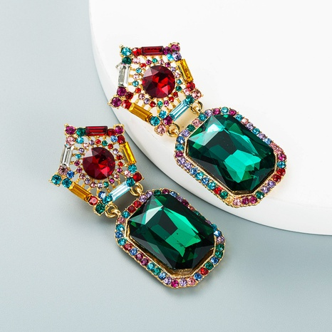 Mode geometrische farbige Diamant-Serie quadratische Anhänger Ohrringe Großhandel Nihaojewelry NHLN418195's discount tags