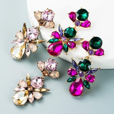 Mode geometrische Legierung farbige Glasdiamantohrringe Großhandel Nihaojewelry NHLN418196's discount tags