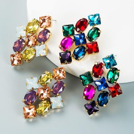 Modefarbe Strass-Serie Raute Ohrringe Großhandel Nihaojewelry NHLN418198's discount tags