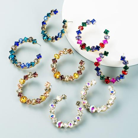 Modetrend geometrische Legierung Diamant C-förmige Ohrringe Großhandel Nihaojewelry NHLN418200's discount tags