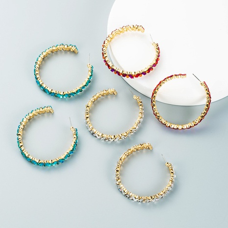 Mode C-förmige farbige Strassohrringe Großhandel Nihaojewelry NHLN418201's discount tags