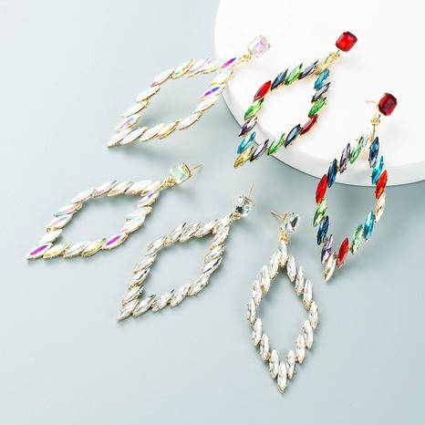 Retro geometrische Raute Legierung Glas Strass Ohrringe Großhandel Nihaojewelry NHLN418203's discount tags