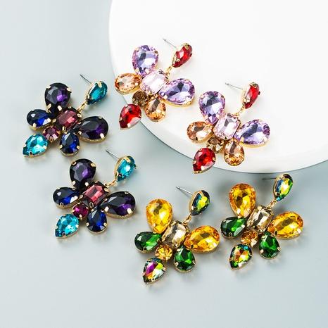 Mode tropfenförmige Glasdiamant-Schmetterlings-Blumenohrringe Großhandel Nihaojewelry NHLN418204's discount tags