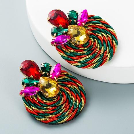 hit color geometric glass diamond pendant earrings wholesale nihaojewelry  NHLN419875's discount tags