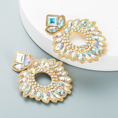 geometric flower inlaid color rhinestones pendant earrings wholesale nihaojewelry  NHLN419874's discount tags