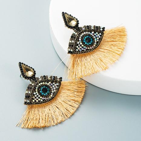 devil's eyes inlaid rhinestones fan-shaped tassel earrings wholesale nihaojewelry  NHLN419871's discount tags