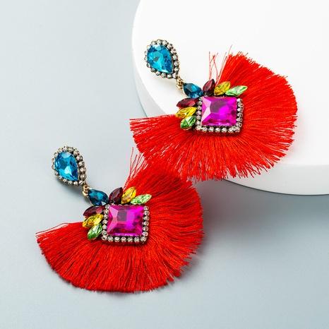 retro rhinestone fan-shaped tassel pendant earrings wholesale nihaojewelry  NHLN419870's discount tags