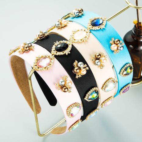 Baroque geometric inlaid gem wide headband wholesale Nihaojewelry  NHLN419853's discount tags