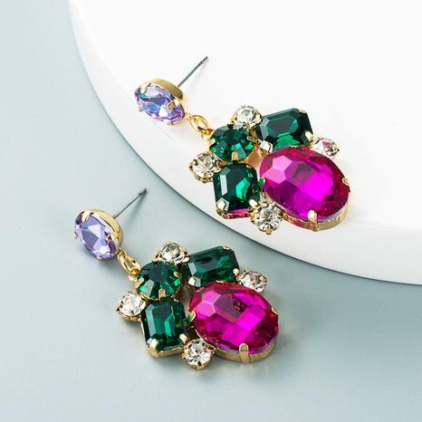 fashion geometric alloy inlaid colored glass diamond earrings wholesale Nihaojewelry  NHLN419851's discount tags