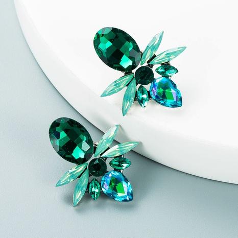 fashion colored rhinestone geometric alloy earrings wholesale Nihaojewelry  NHLN419859's discount tags