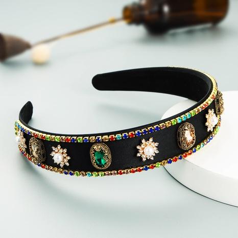 Baroque fashion geometric inlaid colorful diamond headband wholesale Nihaojewelry  NHLN419860's discount tags