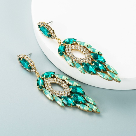fashion multi-layer alloy inlaid color rhinestone leaf-shaped earrings wholesale Nihaojewelry  NHLN419841's discount tags