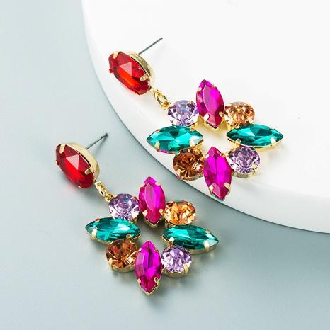 fashion alloy colored full diamond geometric earrings wholesale Nihaojewelry  NHLN419836's discount tags