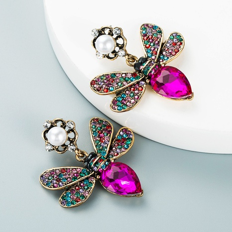 fashion trend color diamond butterfly pearl alloy earrings wholesale Nihaojewelry  NHLN419833's discount tags