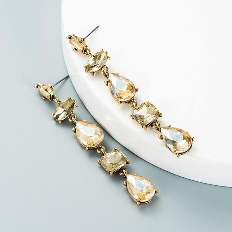 new style drop-shaped glass diamond tassel earrings wholesale Nihaojewelry  NHLN419829's discount tags