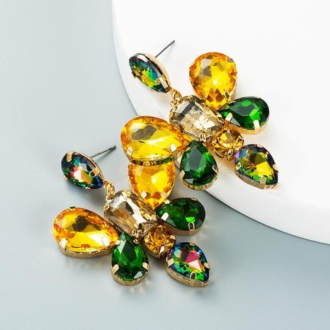 fashion color drop-shaped glass diamond butterfly flower earrings wholesale Nihaojewelry  NHLN419827's discount tags