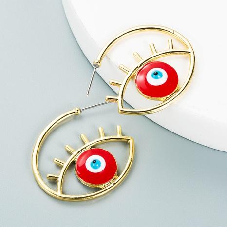 fashion devil's eye drop oil C-shaped hoop earrings wholesale Nihaojewelry  NHLN419822's discount tags