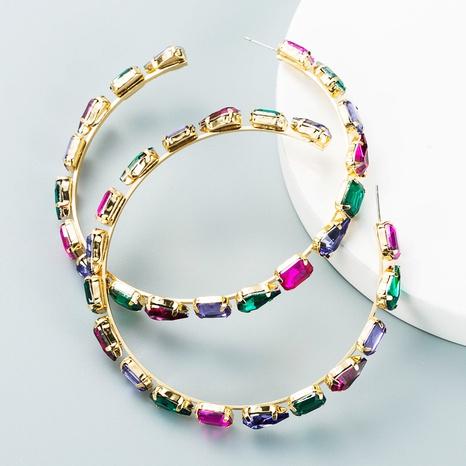 fashion geometric glass diamond C-shaped big earrings wholesale Nihaojewelry  NHLN419823's discount tags