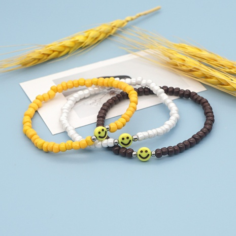 simple style yellow smiley face beaded rice bead bracelet wholesale jewelry Nihaojewelry NHYUX418376's discount tags