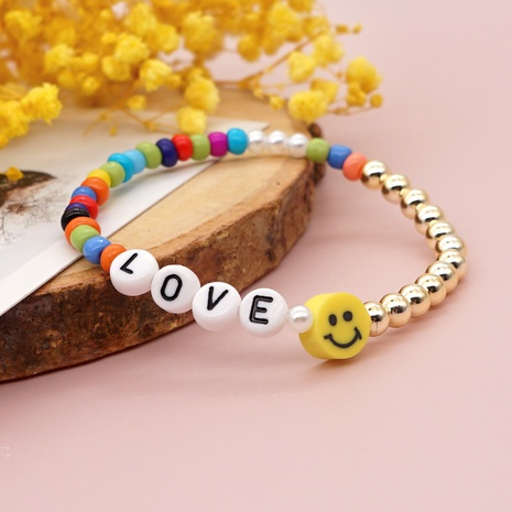 letter color rice beads soft pottery smiley face bracelet wholesale jewelry Nihaojewelry NHYUX418378's discount tags