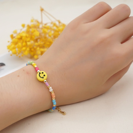 handmade beaded yellow smiley face simple adjustable bracelet wholesale jewelry Nihaojewelry NHYUX418379's discount tags