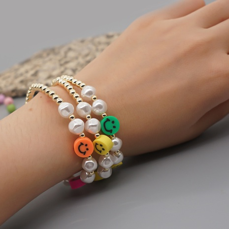 white imitation pearl bohemian style soft pottery smiley face bracelet wholesale jewelry Nihaojewelry NHYUX418384's discount tags