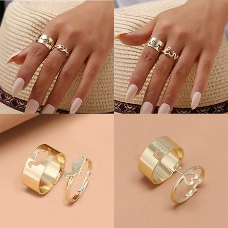 La mode coréenne creuse nouvelle bague d'ouverture papillon géométrique 2 pièces ensemble en gros nihaojewelry NHKQ418541's discount tags