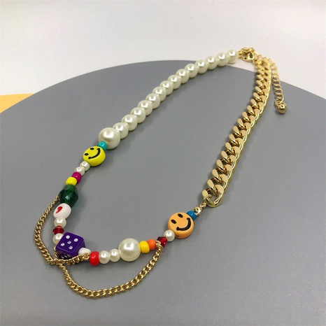 simple lucky smiley Cuban chain copper 18K gold plated pearl necklace wholesale Nihaojewelry  NHJIF418618's discount tags