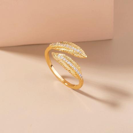 moda vintage cobre con incrustaciones de circonio pluma anillo abierto al por mayor nihaojewelry NHDB418723's discount tags