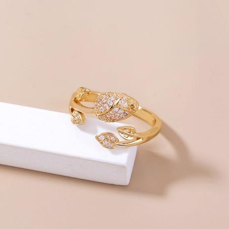 anillo de cobre de apertura de rosa de circón con incrustaciones de moda al por mayor nihaojewelry NHDB418729's discount tags