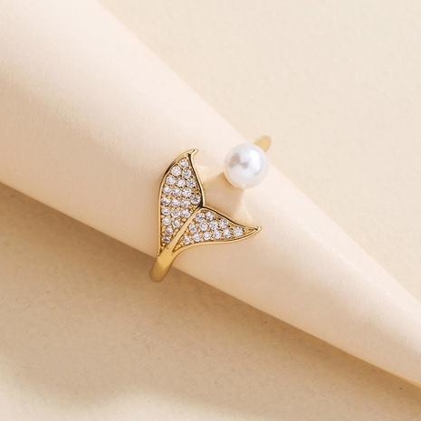 Moda micro-incrustaciones de circonio cola de sirena anillo de cobre de perlas abiertas al por mayor nihaojewelry NHDB418756's discount tags