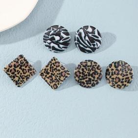 simple geometric leopard pattern earrings wholesale Nihaojewelry NHNZ418858
